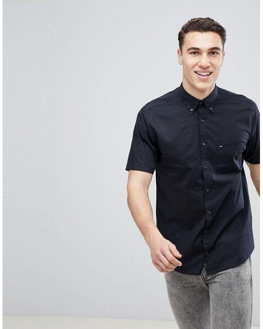 Tommy Hilfiger Short Sleeve Stretch Poplin Button Down Shirt Flag Logo Regular Fit In Black