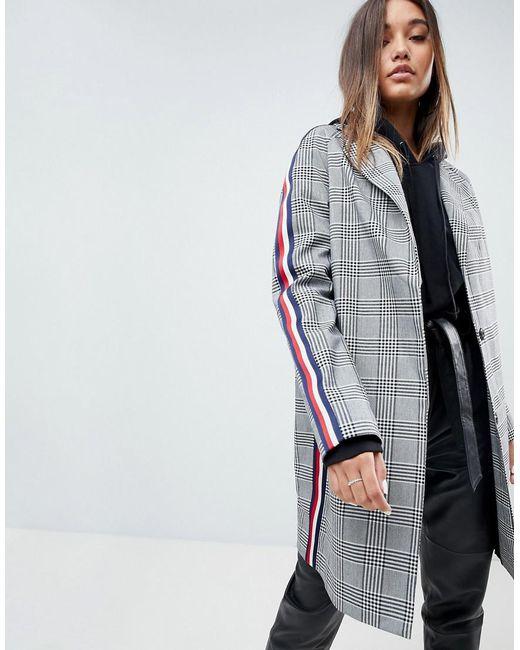 ASOS - Multicolor Asos Slim Coat In Mono Check With Sports Trim - Lyst