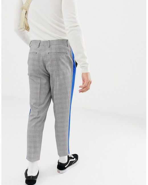 ae059cfd61 Men's Gray Tapered Smart Pants In Prince Of Wales Check With Side Stripe