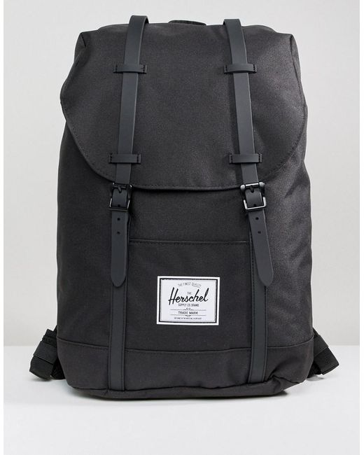 b7f6d1db3b1c Herschel Supply Co. - Retreat Backpack In Black With Rubberised Straps for  Men - Lyst ...