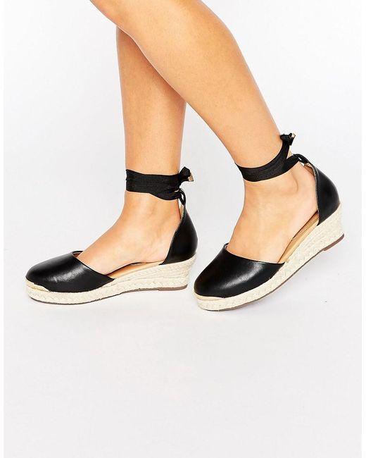 Womens Black Almond Toe Wedge Shoes