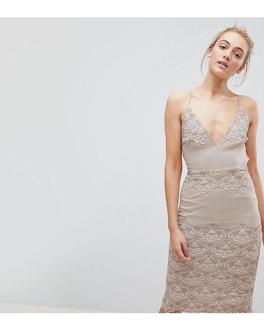 Delicate Placement Lace Cami Midi Pencil Dress