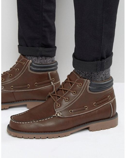 new look mocassin boots in brown in brown for lyst