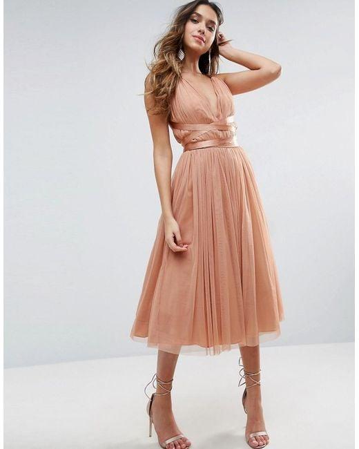ASOS | Orange Premium Tulle Midi Prom Dress With Ribbon Ties | Lyst