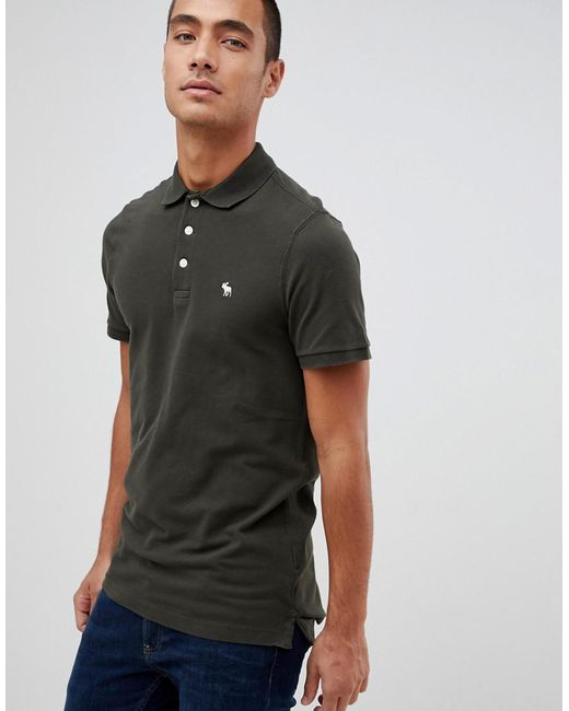 8d2dc4d9 Abercrombie & Fitch - Stretch Slim Fit Pique Polo Icon Logo In Olive Green  for Men ...