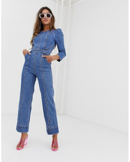 3b93ea739212 Miss Sixty - Blue Denim Jumpsuit With Puff Fleeve Detail - Lyst ...