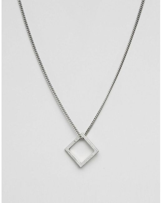 Icon Brand   Metallic Square Necklace In Silver for Men   Lyst