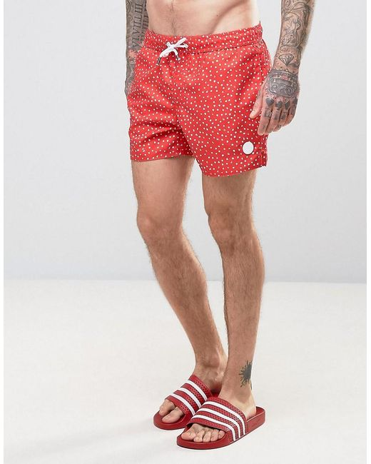 Native youth Swim Shorts Paint Brush Polka Dot Print in Red for ...
