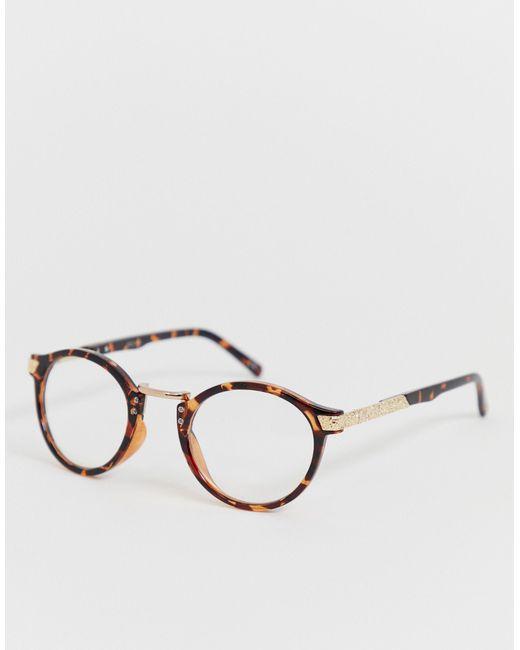 Модные Очки В Круглой Черепаховой Оправе С Прозрачными Стеклами ASOS для него, цвет: Multicolor
