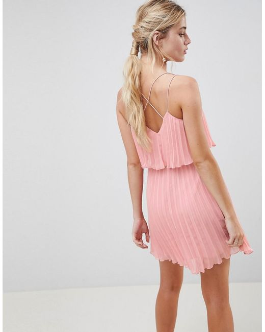 03550be5e58d ... ASOS - Pink Pleated Crop Top Mini Dress - Lyst