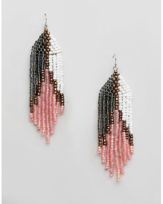 Steve Madden - Pink Graduated Seed Beaded Drop Frishhook Earring - Lyst