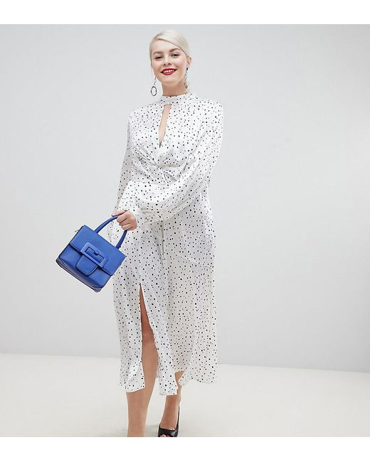 058f833b37a ASOS - Multicolor Asos Design Tall High Neck Twist Front 70s Sleeve Midi  Dress In Spot ...