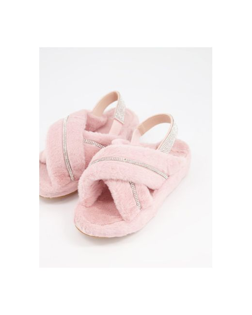 Нежно-розовые Слиперы С Отделкой Стразами Babygirl-розовый Public Desire, цвет: Pink