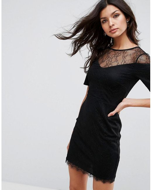 Lyst Asos Asos Lace T Shirt Dress With Sweetheart Neckline In Black