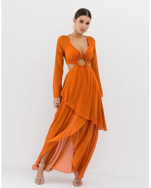 cfbd48d0017b Vestido largo de manga larga con detalle de ribete circular de mujer de  color naranja