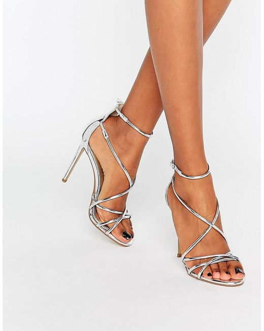 Office Spindle Silver Mirror Strappy Heeled Sandals In