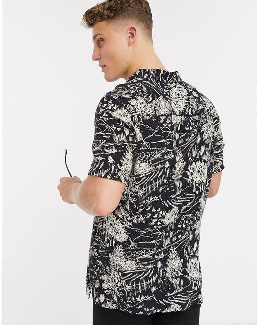 Черная Рубашка С Принтом И Короткими Рукавами -черный Topman для него, цвет: Black