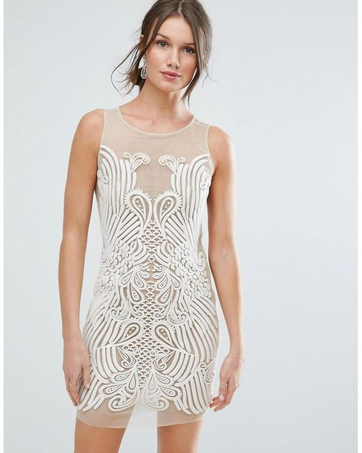 ASOS   Natural Placed Illusion Embroidered Mini Dress   Lyst