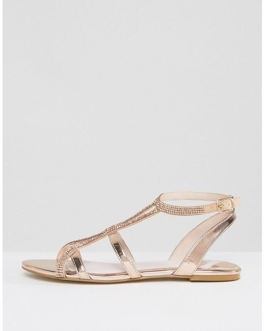 Faith Jimi Rose Gold Embellished Flat Sandals In Metallic