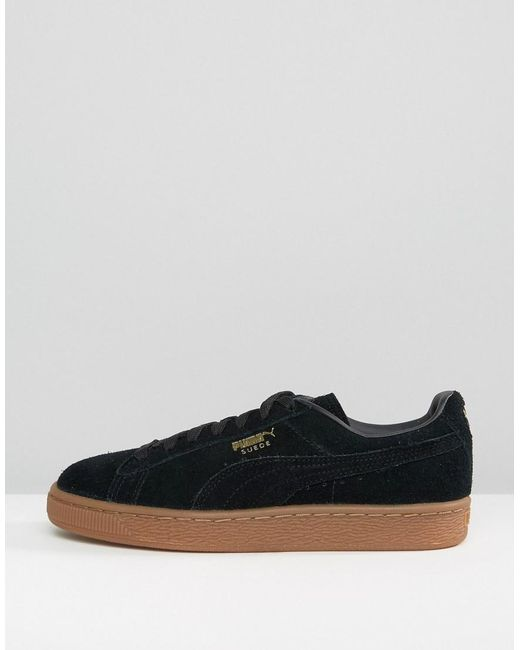 Puma Black Suede Classic Trainers With Gum Sole In Lyst