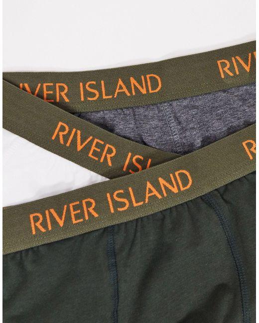 Набор Из 3 Пар Трусов-хипстеров Цвета Хаки -зеленый River Island для него, цвет: Green