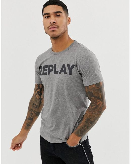 Replay - Gray Bold Logo Crew Neck T-shirt In Grey for Men - Lyst
