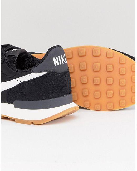 nike internationalist nylon sneakers in black and white