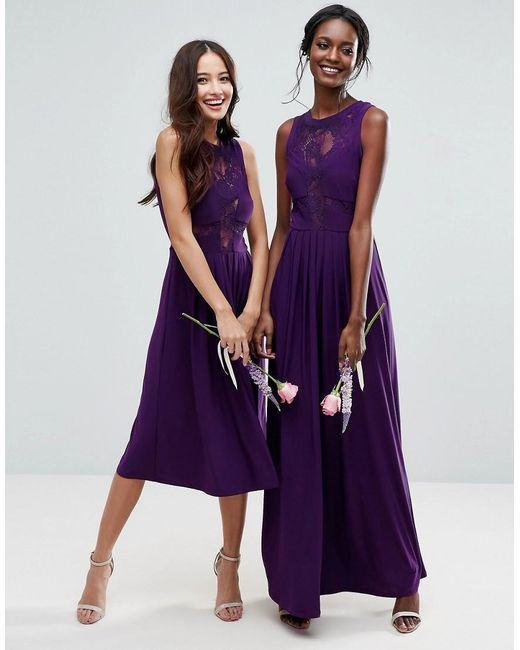 Asos Wedding Lace Jersey Pleated Maxi Dress In Purple Lyst