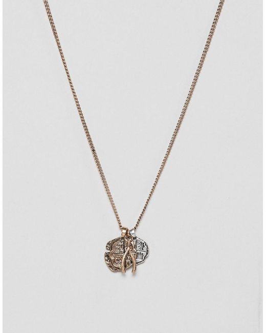 Bershka - Black Multi Pendant Necklace In Gold for Men - Lyst