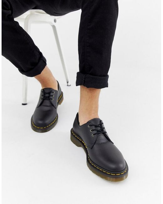 Черные Туфли Из Веган-кожи С 3 Парами Люверсов 1461-черный Dr. Martens для него, цвет: Black