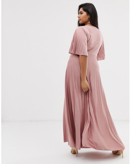 f49495068d2 ASOS. Women s Pink Asos Design Curve Kimono Pleated Maxi Skater Dress