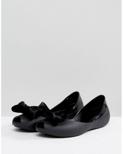 Velours Melissa Arc Chaussure Plate - Noir OTD1G4bgh