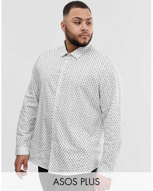 Camisa de trabajo de corte slim elástico con estampado de florecitas de Plus ASOS de hombre de color White