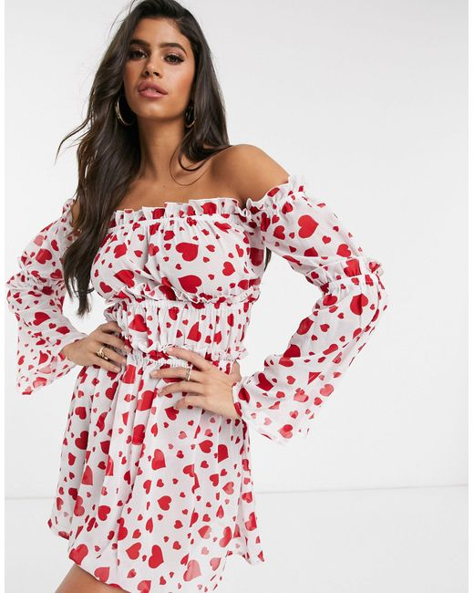Платье Мини С Открытыми Плечами И Принтом Сердечек -красный South Beach, цвет: Red