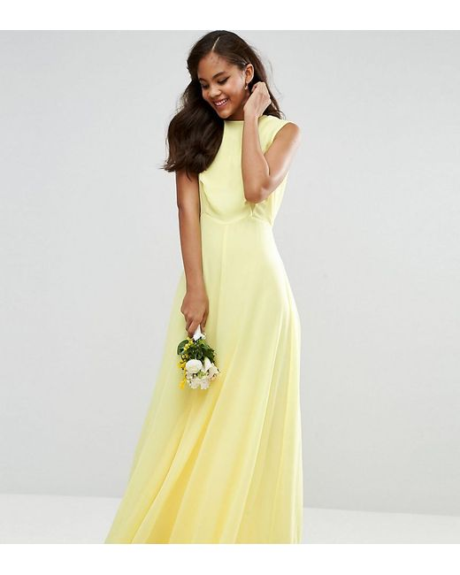 Lyst asos wedding maxi dress in yellow for Yellow maxi dress for wedding