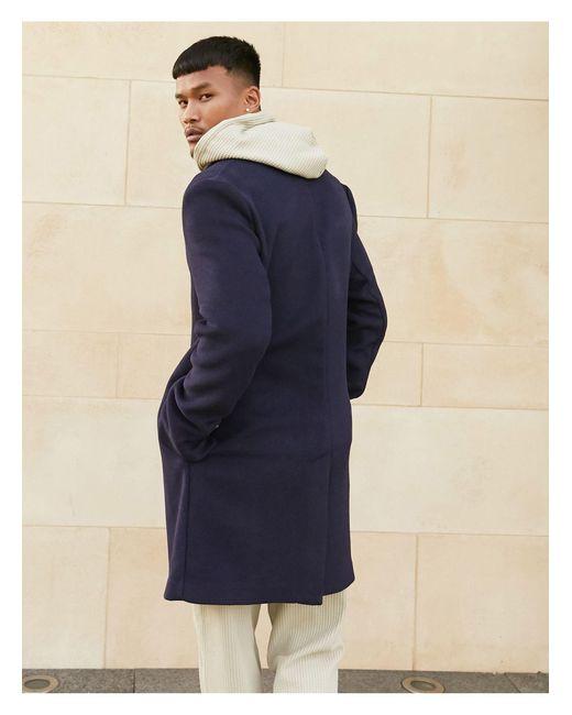 Темно-синее Пальто Из Ткани С Добавлением Шерсти Без Подкладки ASOS для него, цвет: Blue