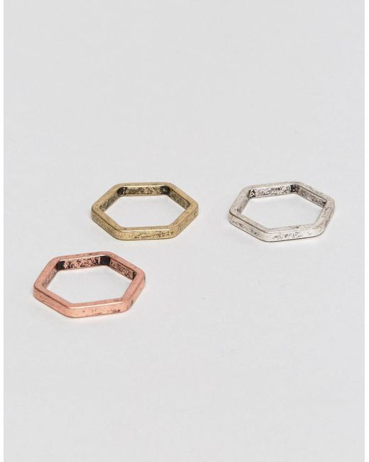 ASOS | Multicolor Hexagon Ring Pack In Mixed Metal Finish | Lyst