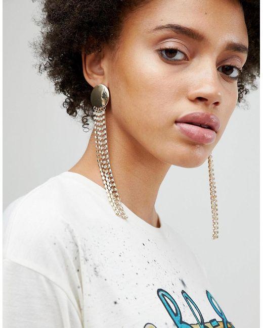 ASOS - Metallic Statement Disc And Jewel Strand Earrings - Lyst