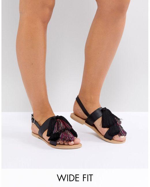 ASOS - FAVOUR - Sandales plates en cuir pointure large à pampilles ASOS en coloris Black