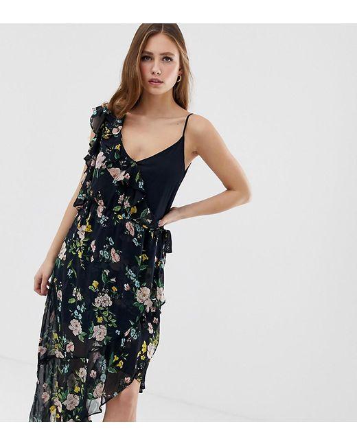 b278f67d26 Bershka - Black One Sleeve Floral Tea Dress - Lyst ...