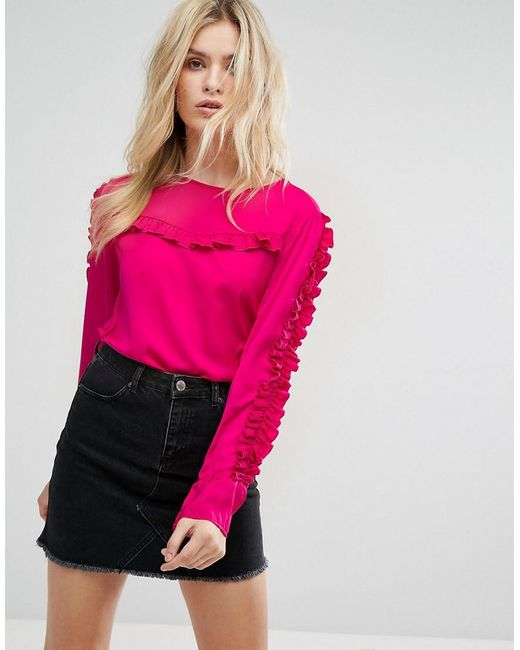 ONLY - Pink Frill Detail Blouse - Lyst