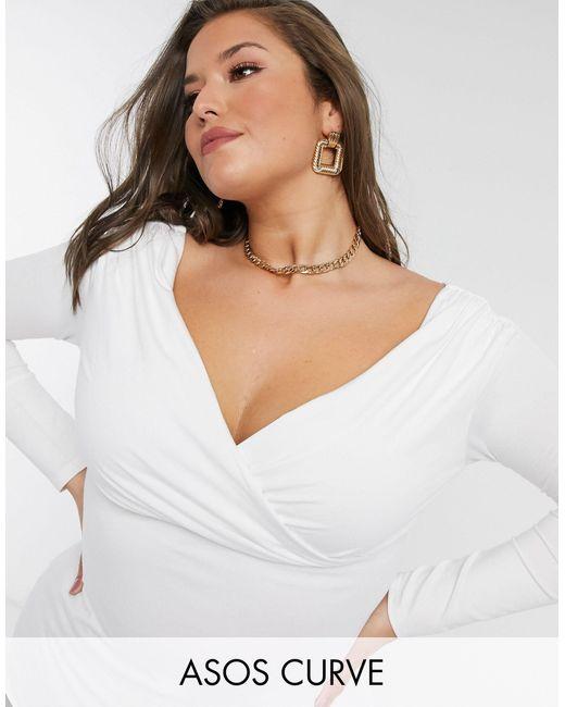ASOS White Asos Design Curve Exclusive Wrap Over Bardot Top