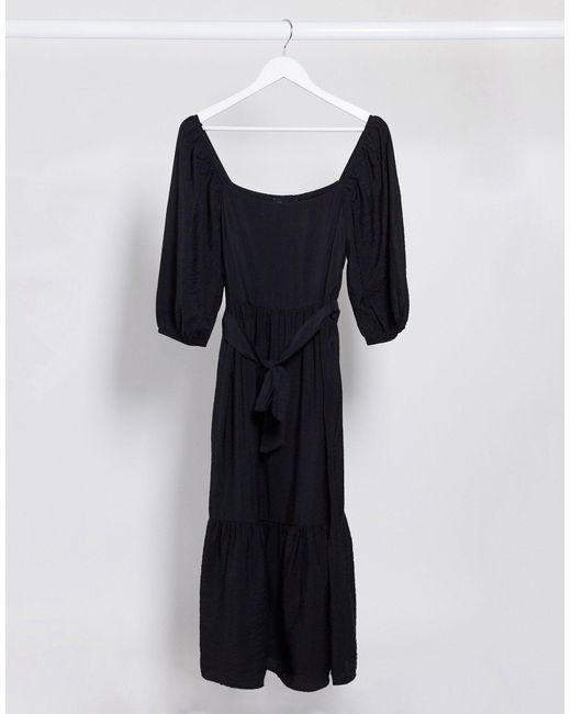 New Look Black Square Neck Tie Waist Midi Dress