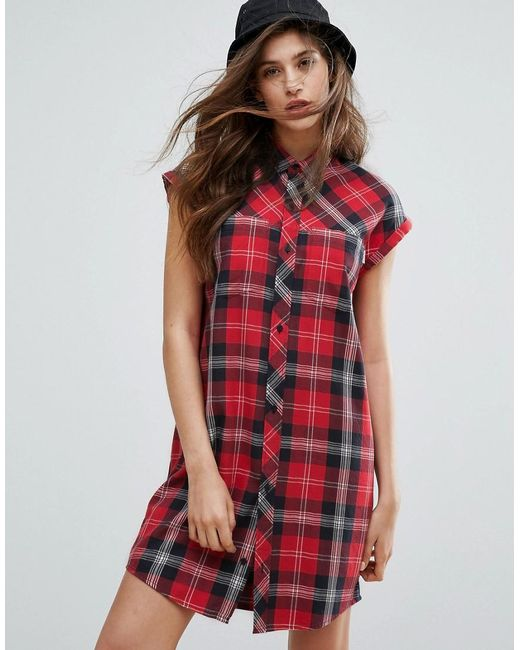 carhartt wip leila sleeveless plaid shirt dress in red lyst