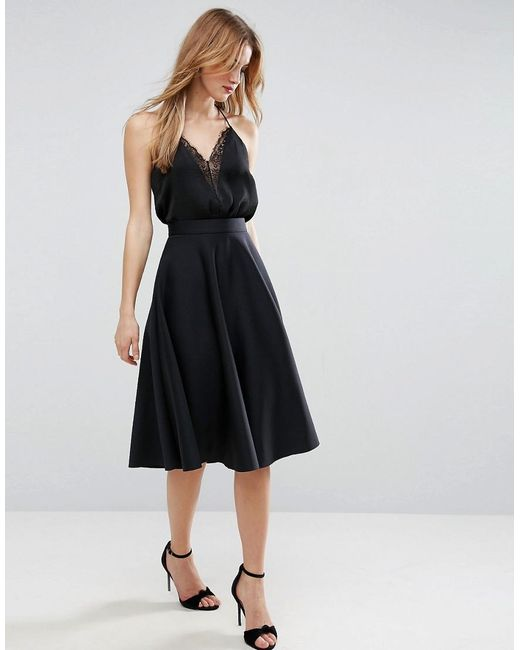 asos high waisted circle scuba prom skirt in black lyst