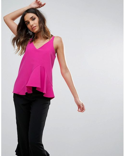 River Island | Pink Tailored Ruffle Front Cami Top | Lyst