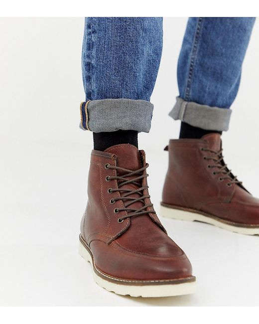new collection authentic quality size 40 Wide Fit Lace Up Boots In Brown Leather With White Sole