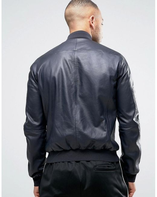 Armani Jeans Leather Bomber Jacket In Navy In Blue For Men