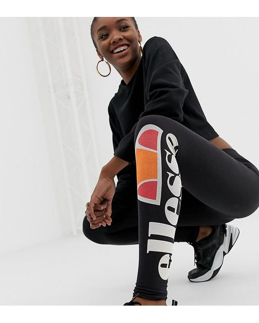 Ellesse Black Leggings mit Logo-Print auf dem Bein