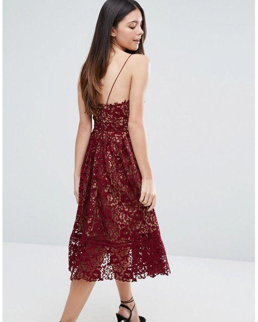 Warehouse Premium Lace Halter Midi Dress - Berry In Red